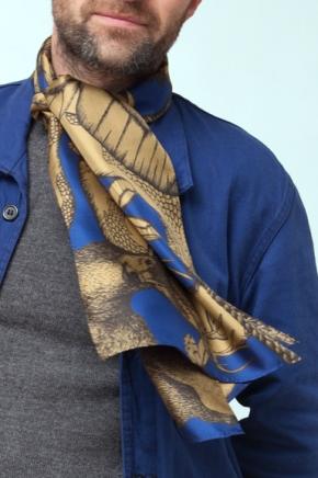 Kaki / Bleu, 29 x 140 cm, Twill de soie