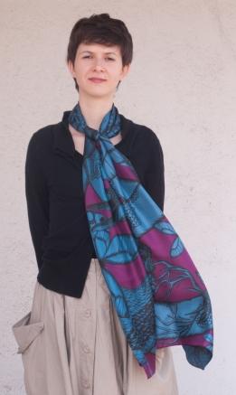 Bleu / Violet, 45 x 198 cm, Twill de soie