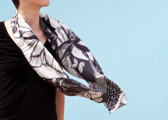 Noir / Blanc, 29 x 140 cm, Twill de soie