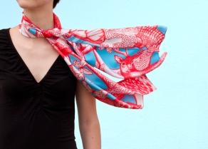 Rouge / Turquoise, 29 x 140 cm, Twill de soie