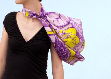 Violet / Anis, 29 x 140 cm, Twill de soie