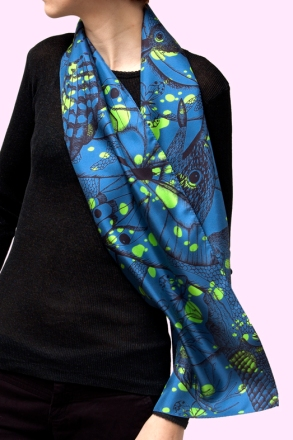 couleur Bleu, 29x140 cm, twill de soie