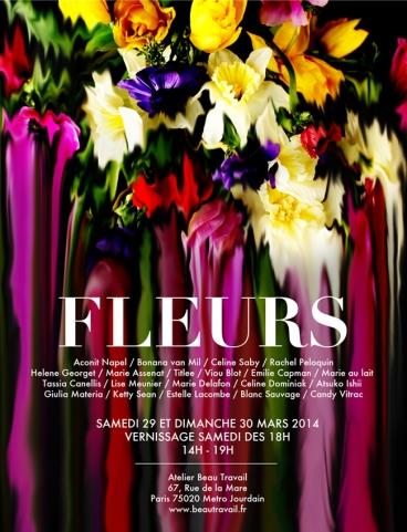 Flyer Fleurs vernissage Atelier beau Travail