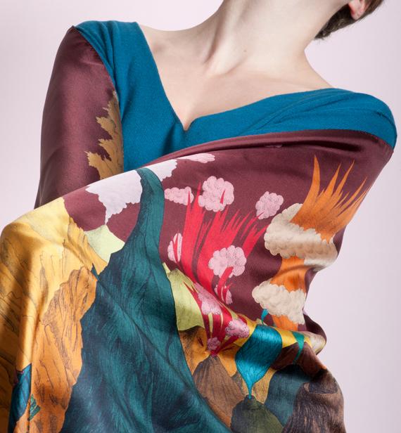 Ciel Prune, 45x 198 cm, Twill de soie
