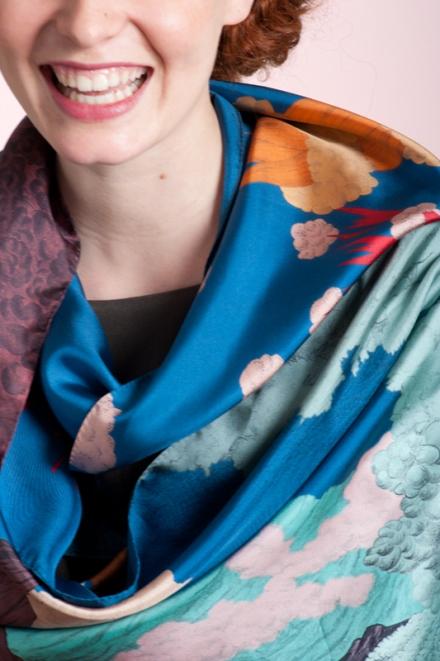 Ciel Bleu, 45x 198 cm, Twill de soie
